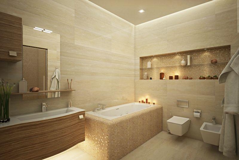 Salle de bain travertin en beige clair et mobilier en bois for Mobilier de salle de bain en bois