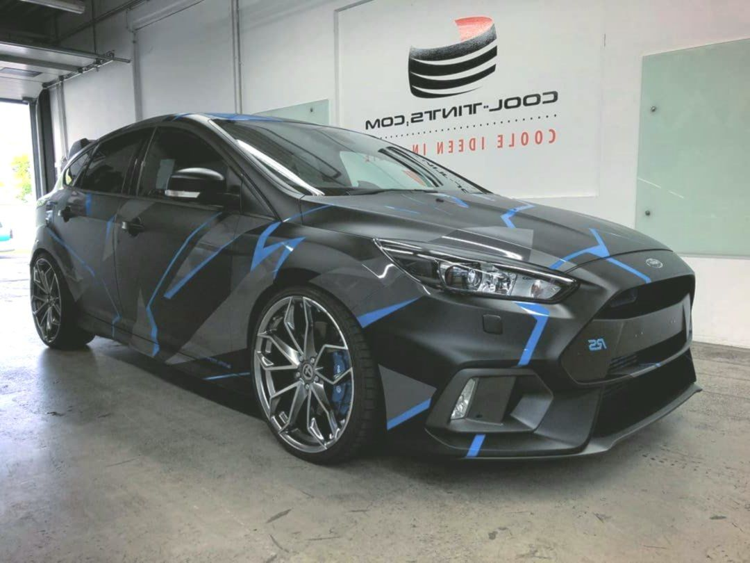 Cooltints On Instagram Ssrsfg Ford Focus Rs Wrapped In Blue To Matteblack With A Custom Cooltints Custom Focus Instag In 2020 Ford Focus Ford Focus Rs Ford Trucks