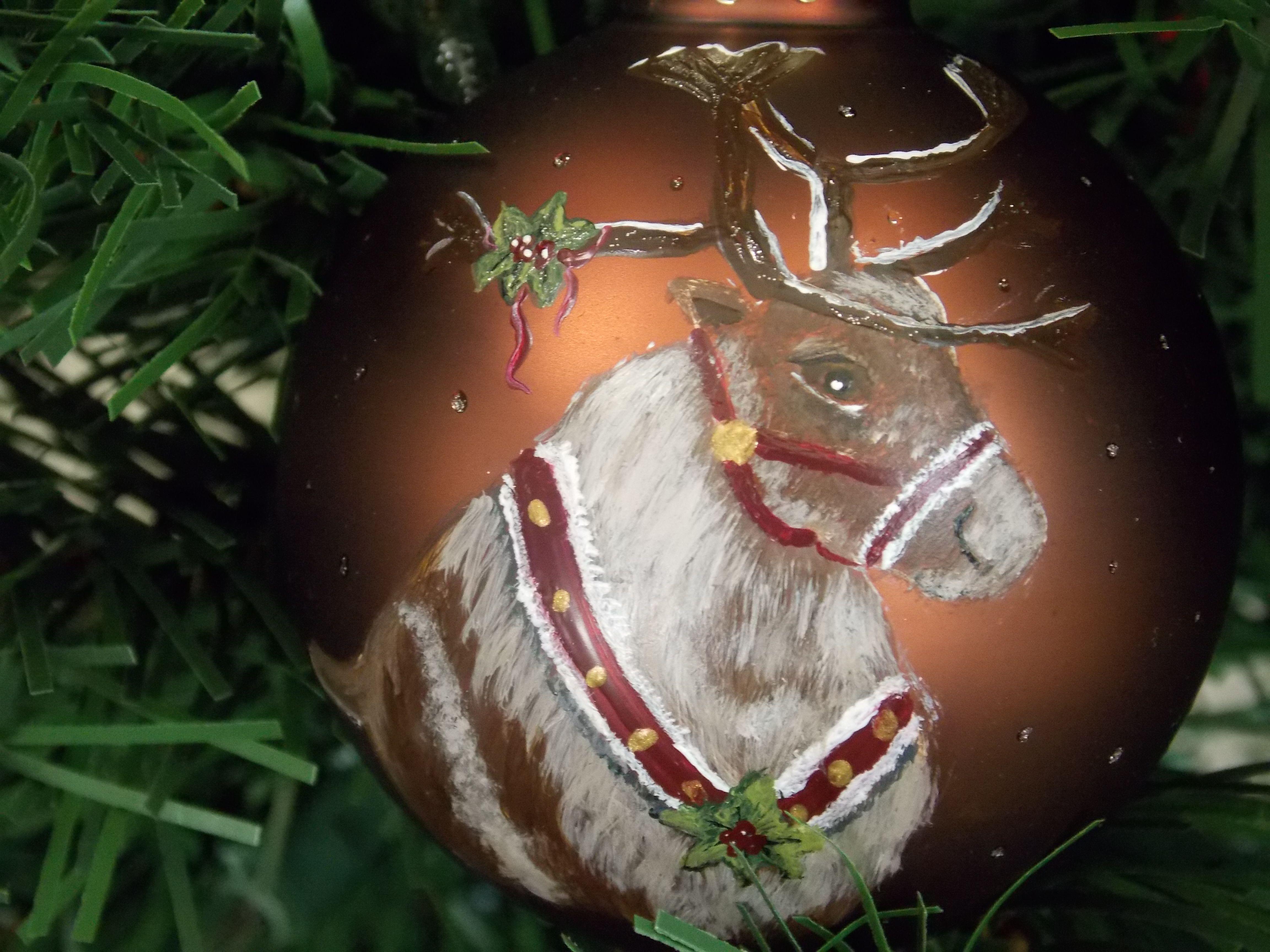 Hand Painted Christmas Ornaments Reindeer (painted By Helen Krupenina)