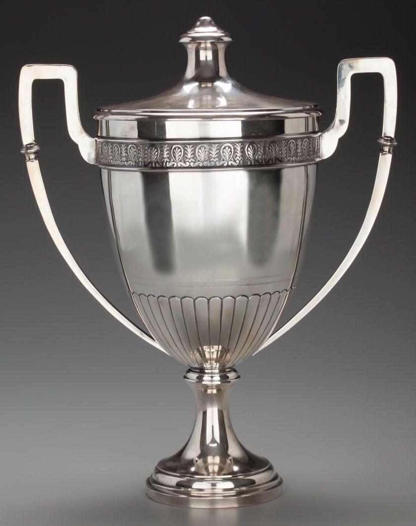 A FRENCH SILVER COVERED TROPHY CUP, circa 1910. Marks: PALAIS ROYAL, IH (in diamond), STERLING, (