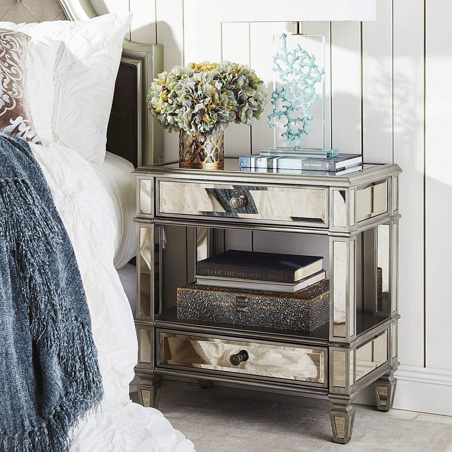 Hayworth mirrored silver 2 drawer nightstand