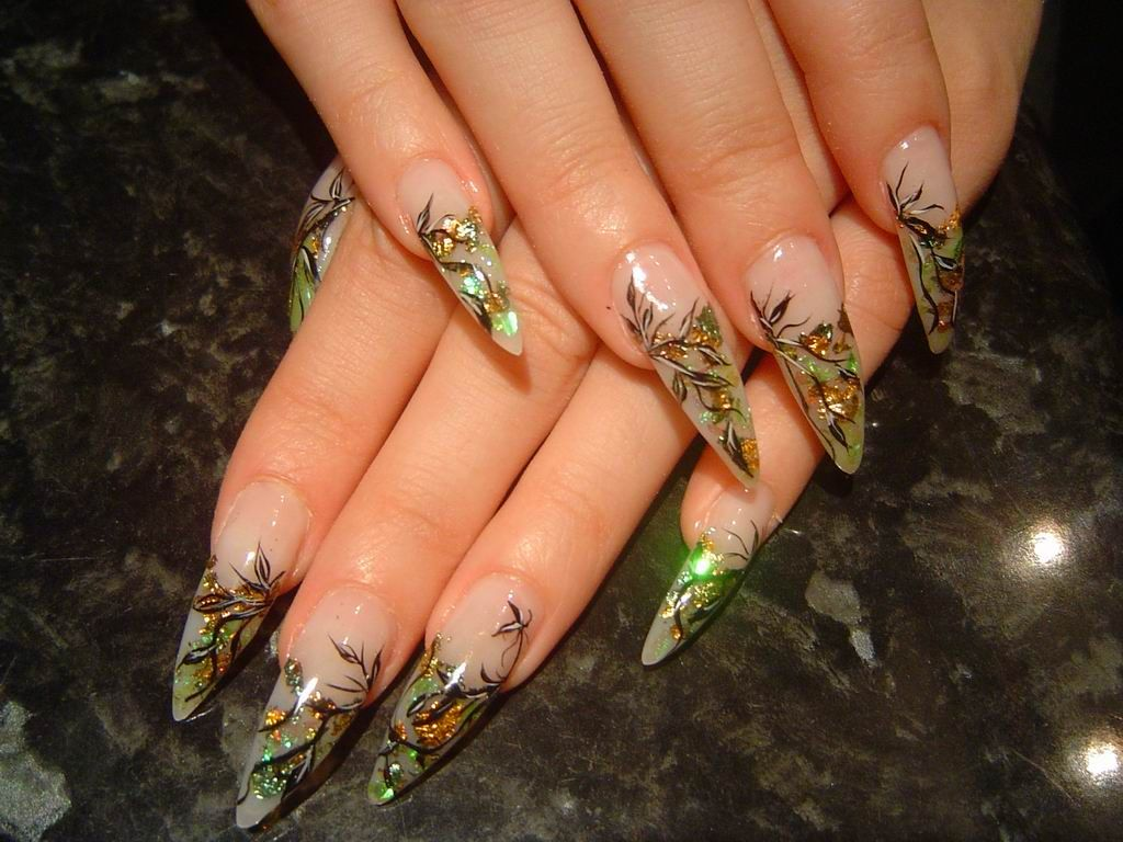 Early Fall Nails – dark branch with green-gold leaves - Nail Art ...