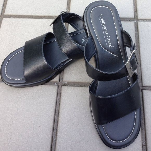 Coldwater Creek Black Sandals-Never Worn! Coldwater Creek black sandals. Leather upper, made in Brazil. Never worn! Coldwater Creek Shoes Sandals