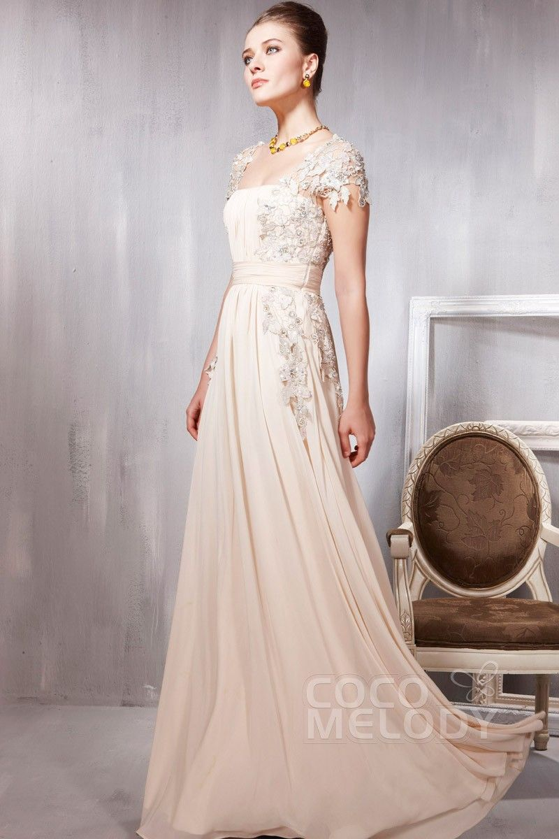 Divine Sheath-Column Square Floor Length Chiffon Evening Dress with Beading and Appliques COSF14037 #cocomelody