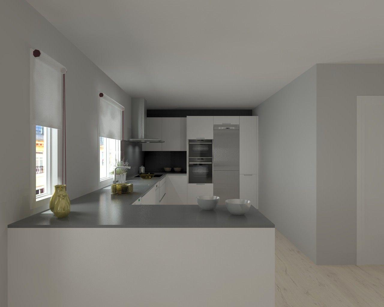 Cocina santos modelo line e encimera silestone cemento - Encimera silestone ...