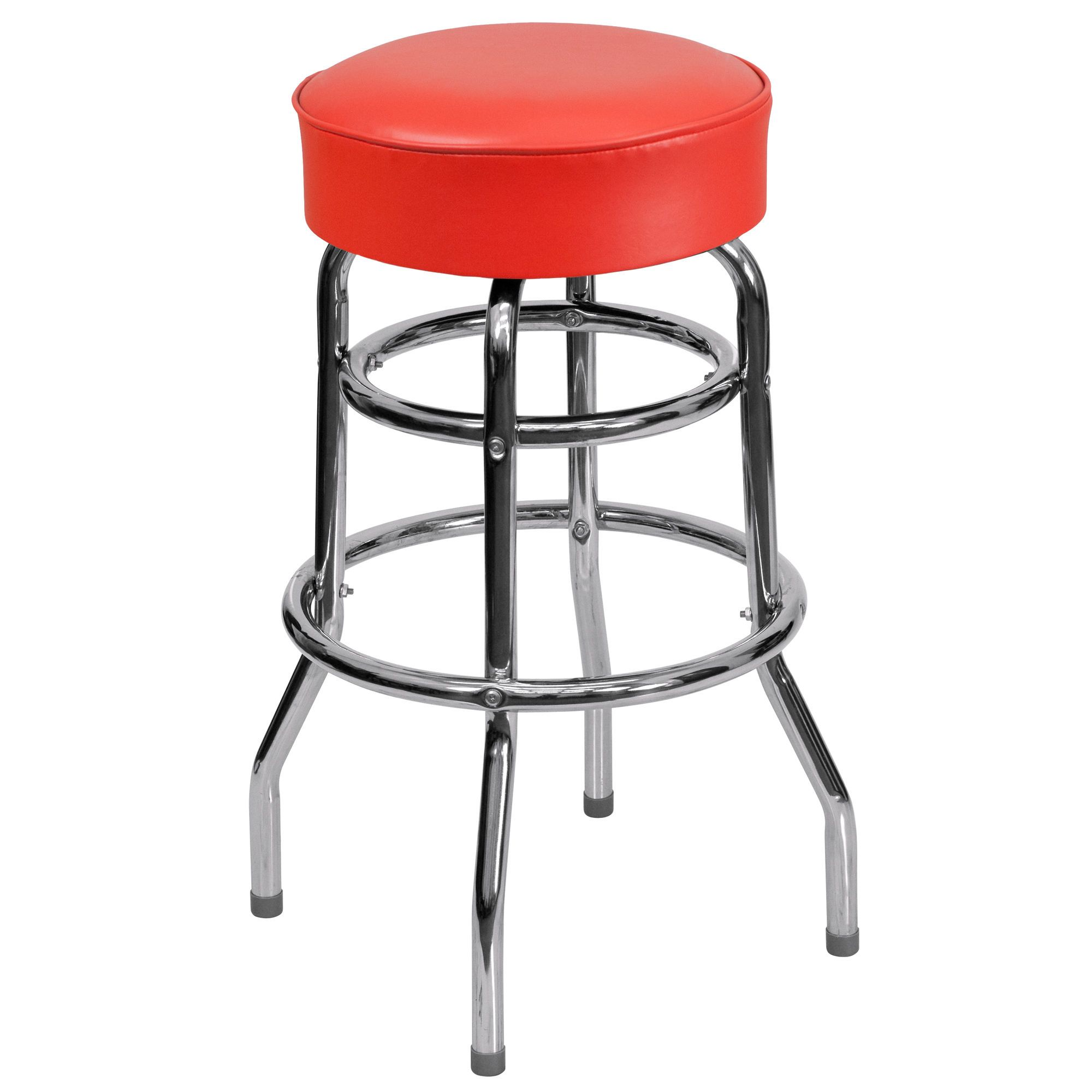 Miraculous Double Ring Chrome Barstool With Black Vinyl Swivel Seat Beatyapartments Chair Design Images Beatyapartmentscom
