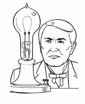 Historical Figures Coloring Pages Thomas Edison In A Classroom