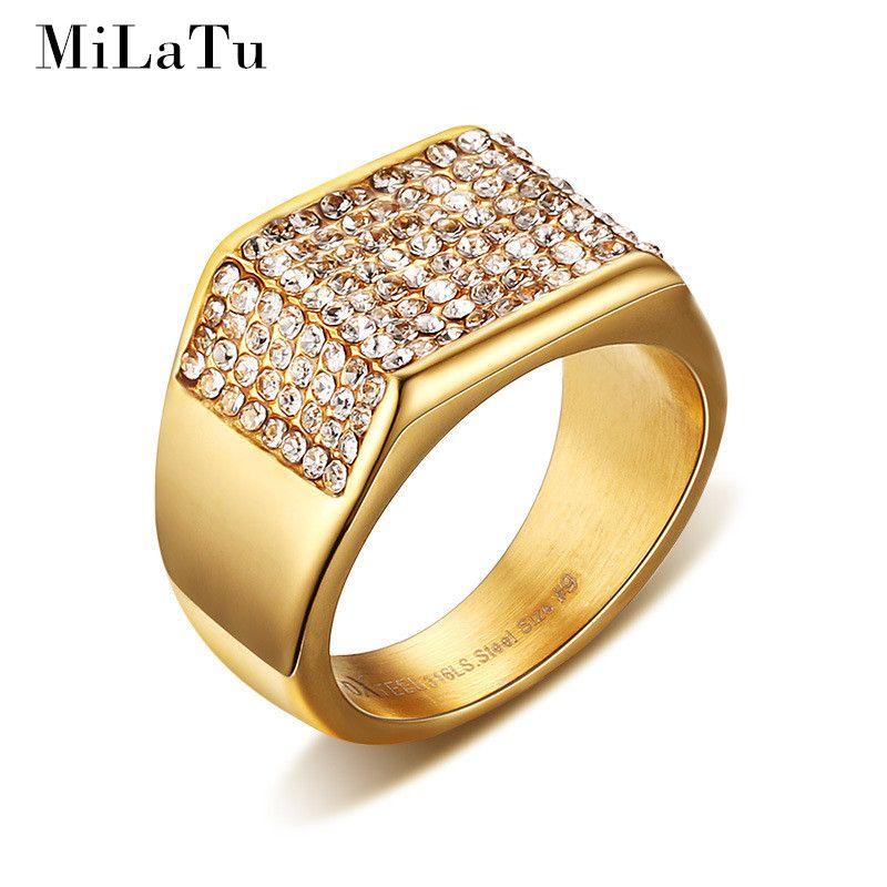 MiLaTu Luxury Wedding Rings For Men Goldcolor Stainless Steel