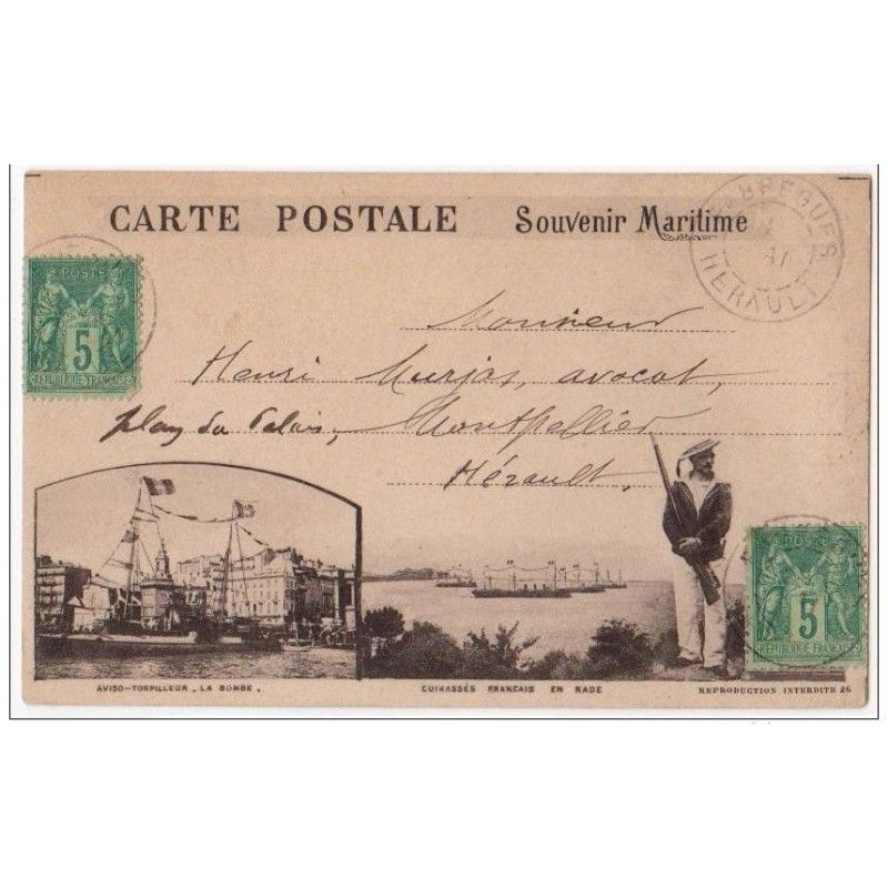 MARSEILLES : carte postale précurseur par Dominique PIAZZA voyagée en 1894 - très bon état ...