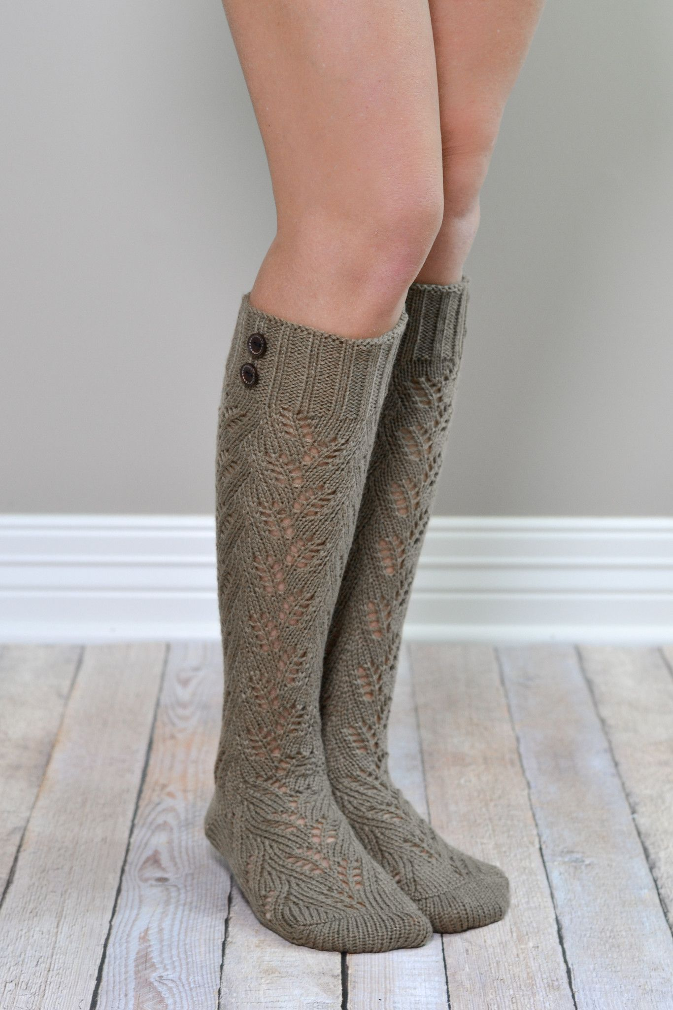 Mocha Knit Boot Sock With Buttons Things I Love Knit
