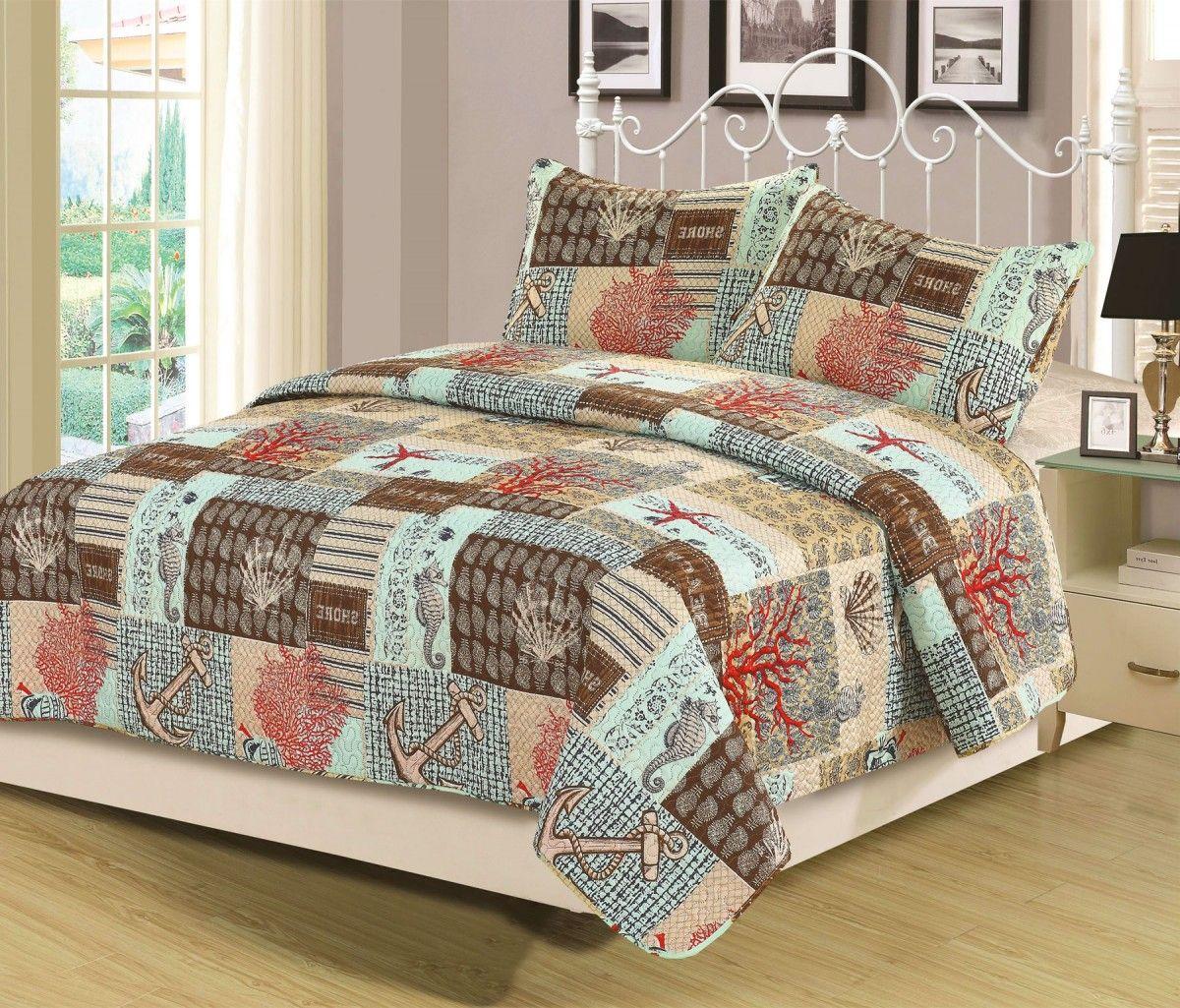 Beatrice Cape May Queen Quilt Set 3 Piece Bedspread