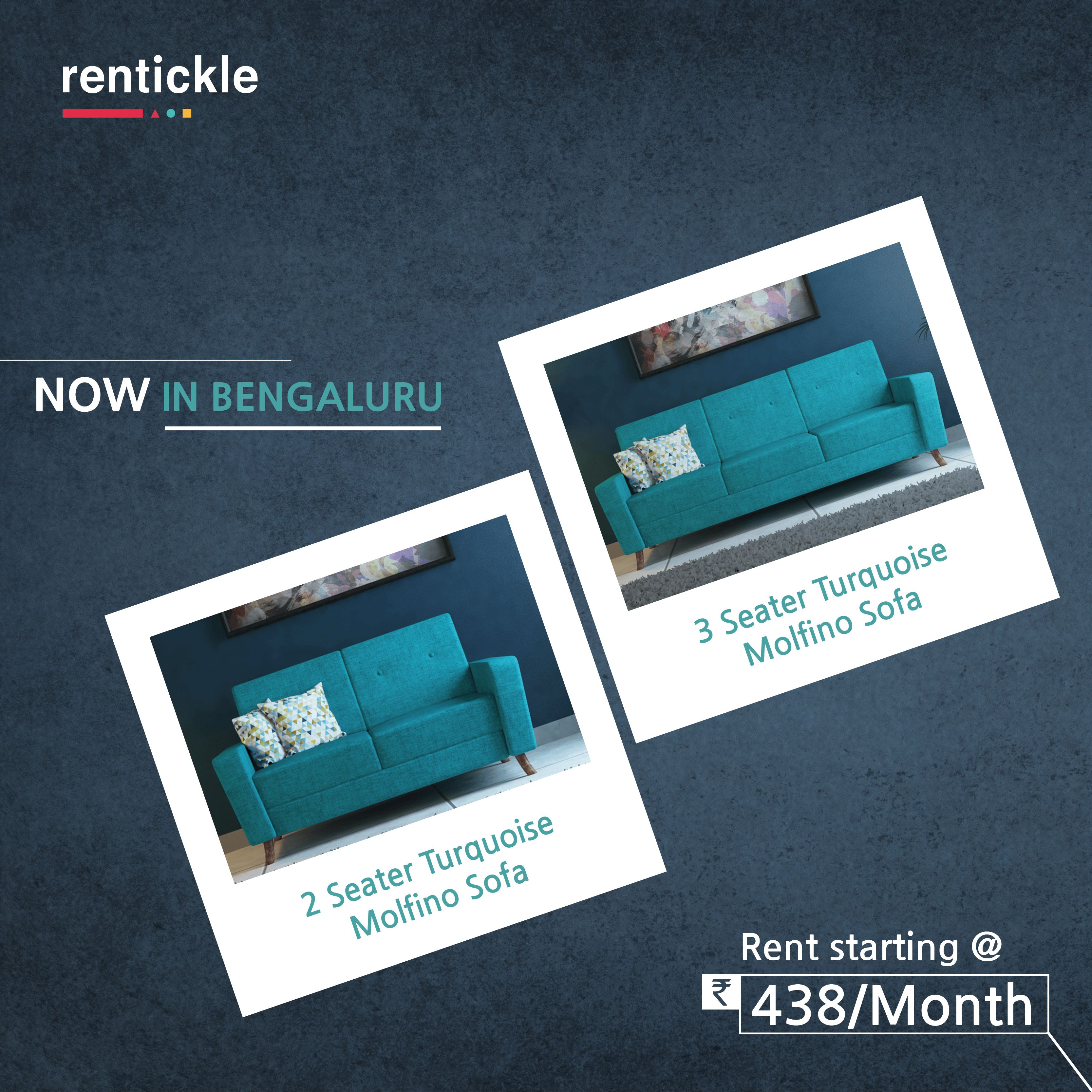 Smallspace Living: Rent The Trendy 2 & 3 Seater Turquoise Molfino Sofas, Now