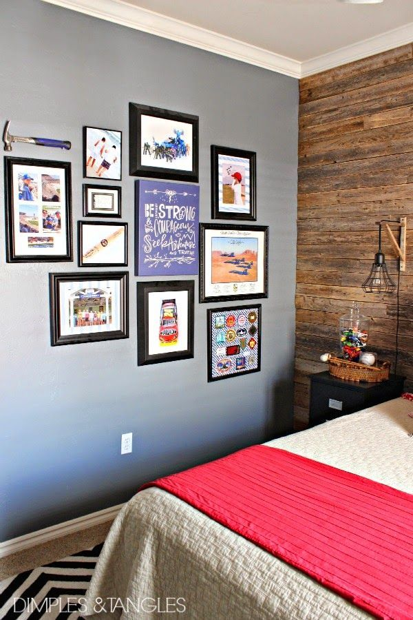 Teen Boyu0027s Bedroom Gallery Wall // Lindsay Letters Canvas // DIY Artwork: