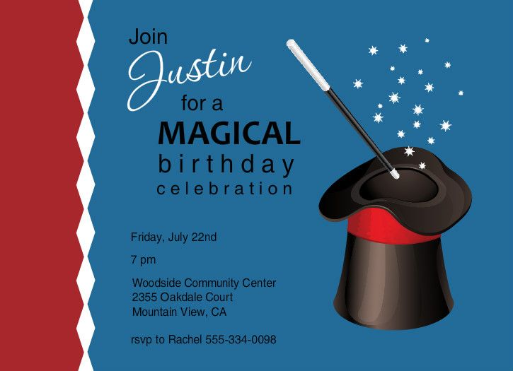 Free Printable Kids Birthday Invitations ~ Magic show invitations blue and red magic hat birthday