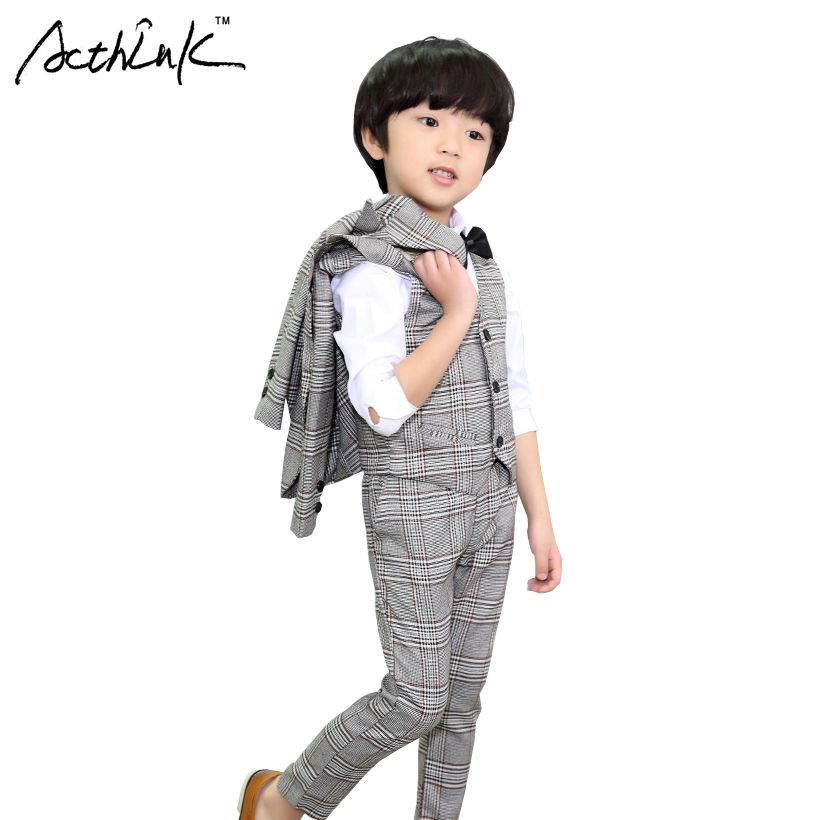 faf444b0a ActhInK New Boys 3Pcs Formal Plaid Wedding Suit Kids England Style ...
