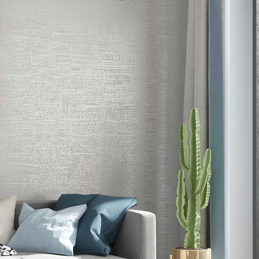 現代質感壁紙白グレーベージュ色の固体色の壁紙ベッドルーム リビング