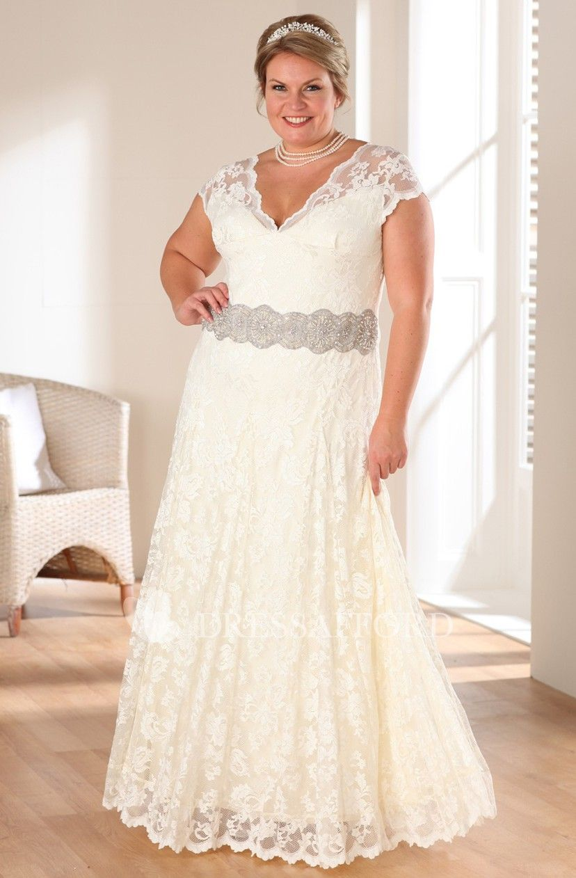 Plunged Cap-sleeve Lace plus size wedding dress With Jeweled ...