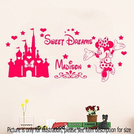 Disney Minnie Mouse Sweet Dream Castle With Personalized Name Wall - Disney custom vinyl stickers