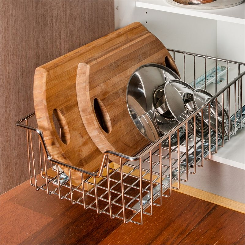 Red 350mm Base Mount Slide Out Basket Kitchen