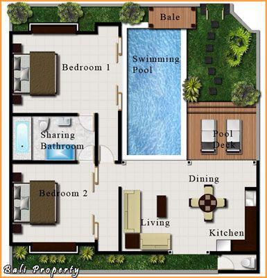 Pool villa bali layout 2 bedroom house plans pinterest for Small villa design plan