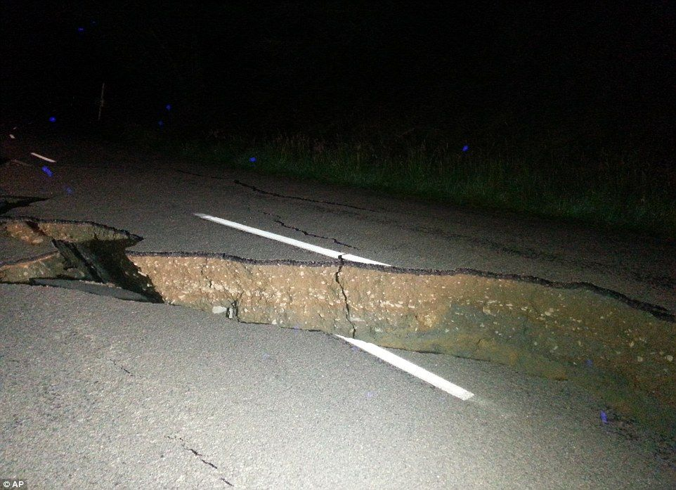 A huge fissure destroyed the road approximately two hours north of Christchurch on Sunday morning