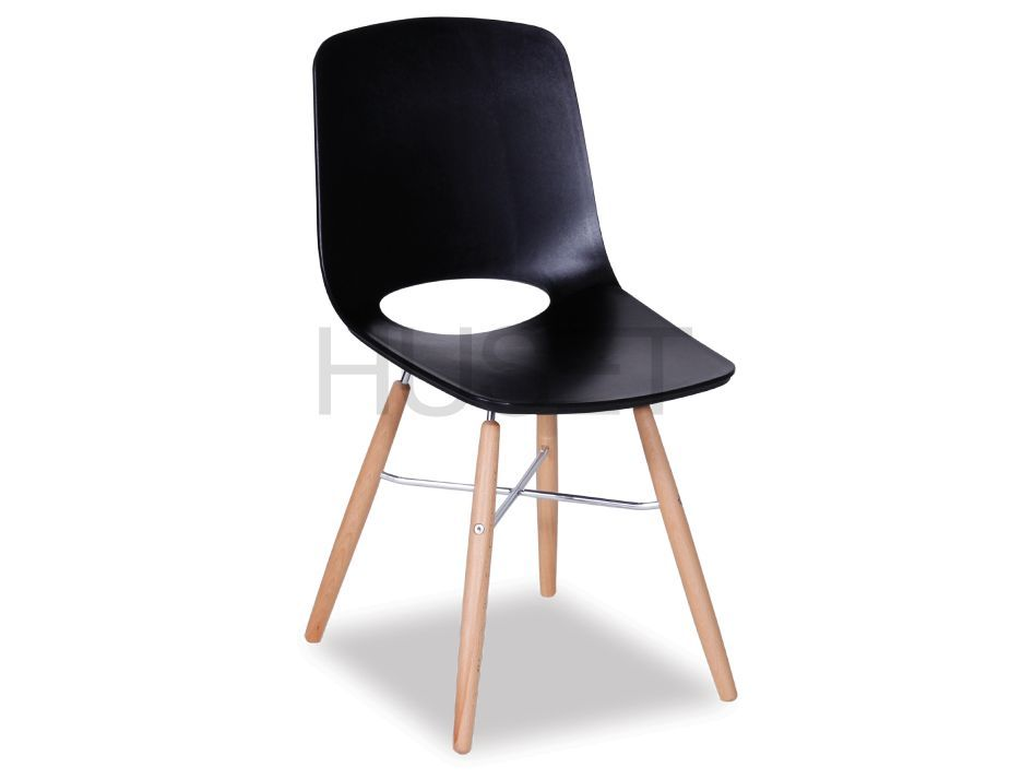 Black Wasosky Dining Chair with Beechwood Legs by Enrique Marti Associates for OOLand