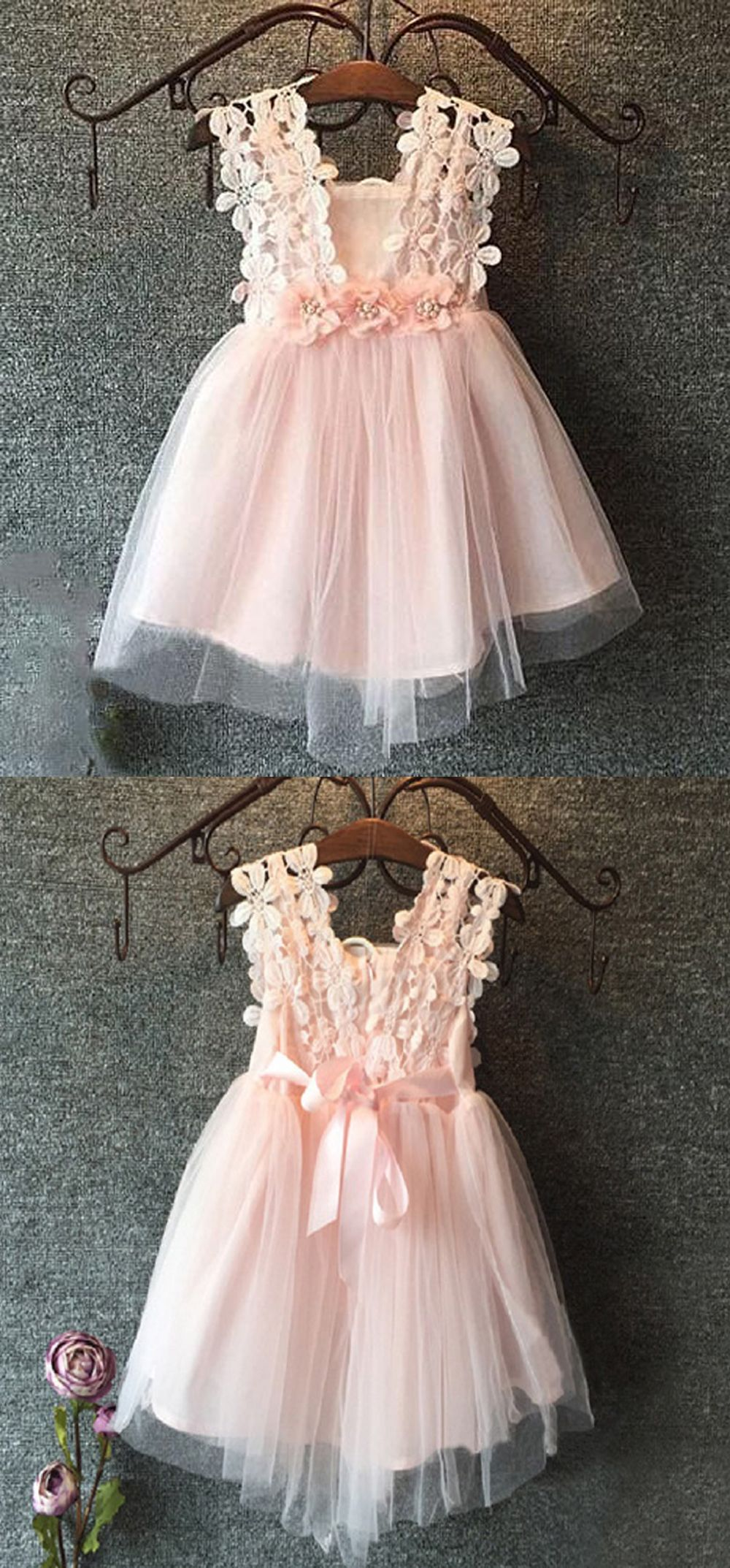A Line Square Short Pink Tulle Flower Girl Dress With Lace Flowers