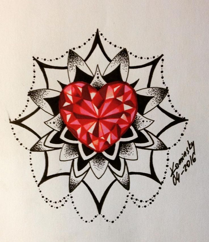 mandala diamond tattoo tattoo diamond heart diamond