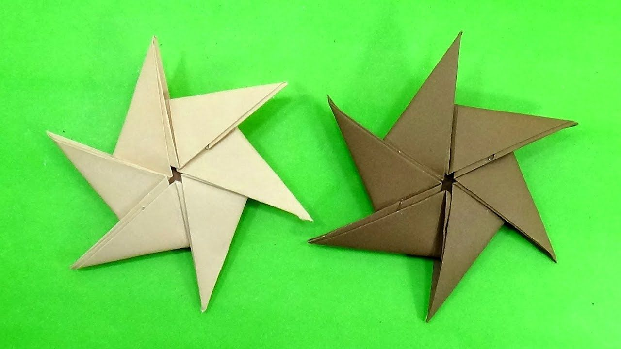 How To Make Six Pointed Throwing Paper Ninja Star (Shuriken) - Best Pape...  | Paper ninja stars, Paper toys, Ninja star