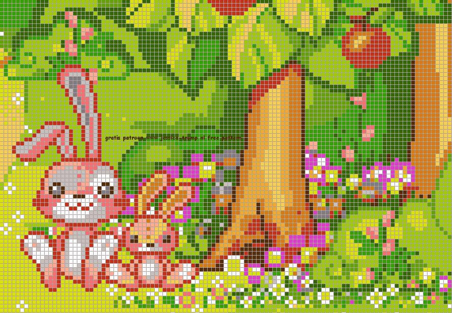 borduren konijntjes kruissteekpatronen rabbits cross-stitching