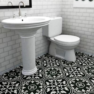 Merola Tile Arte Black 9-3/4 in. x 9-3/4 in. Porcelain Floor and ...