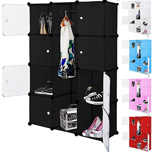 Kleiderschrank DIY Schrank Regalsystem Steckregal Garderobe Schuhregal 12 Boxen