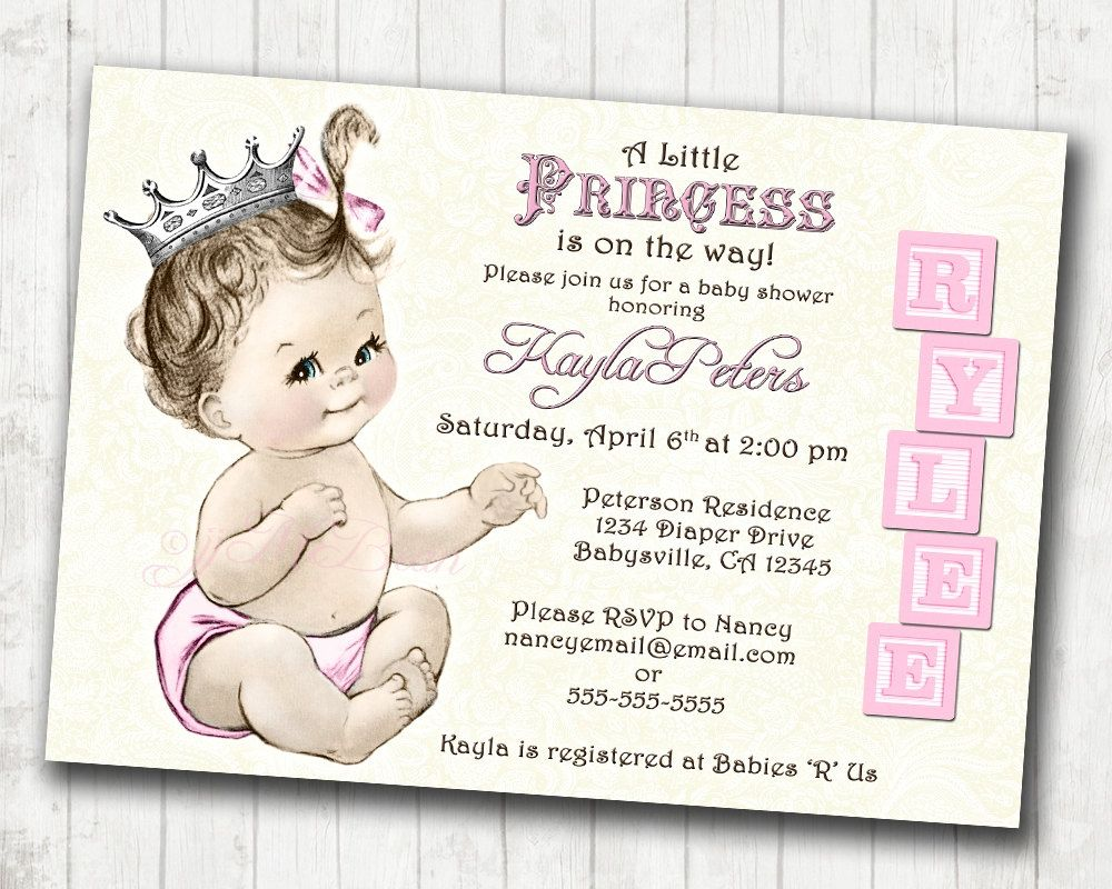 Made To Order Baby Shower Invitations With An Adorable Princess Theme.