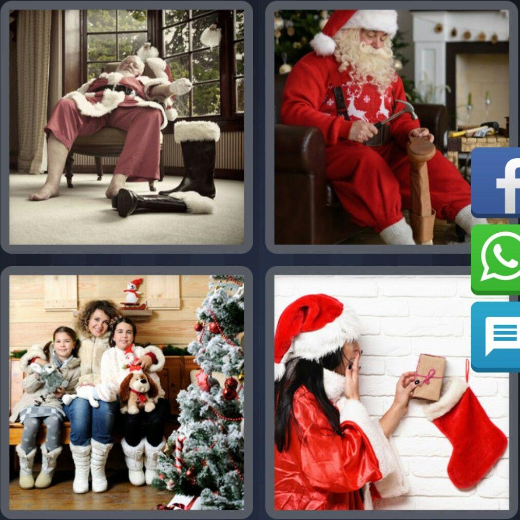 4 Fotos 1 Palabra Papa Noel Bota Mujer Navidad Enigma Diario