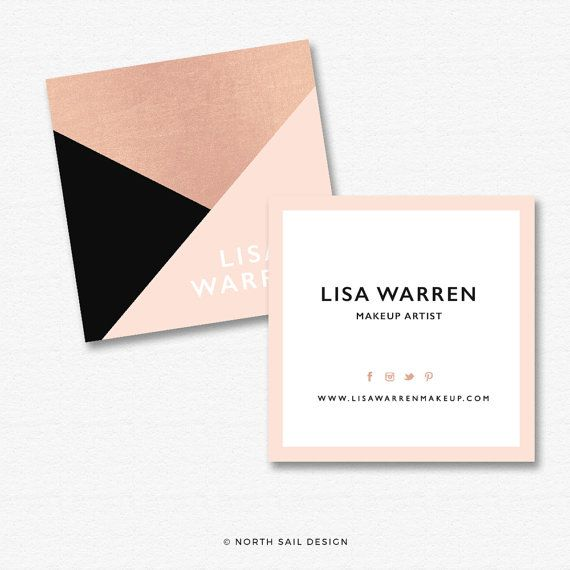 Premade Square Business Card Design Print Ready Gold Foil Square - Square business card template