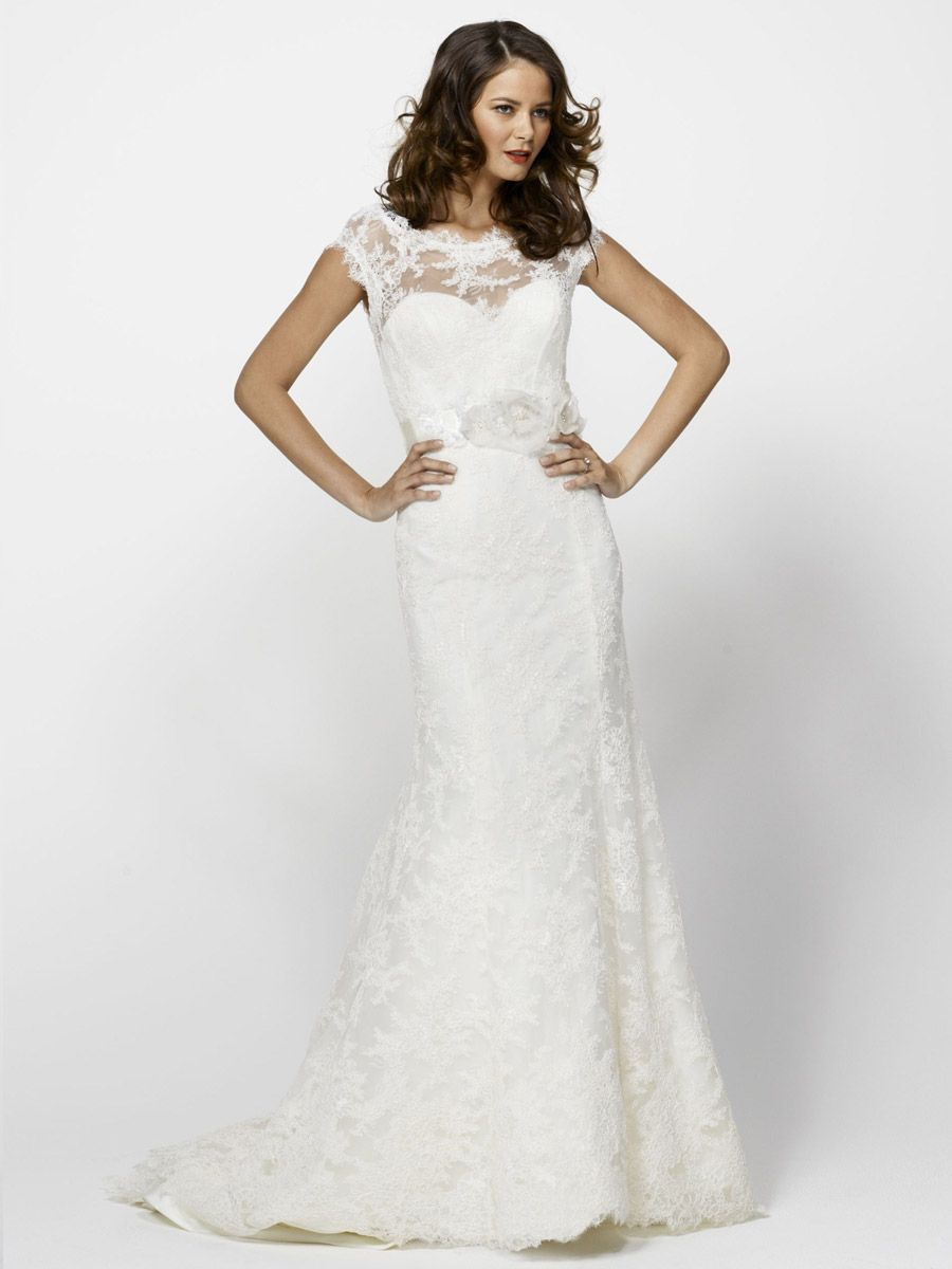 Lace boat neck aline bridal wedding gown with corset bodice wed