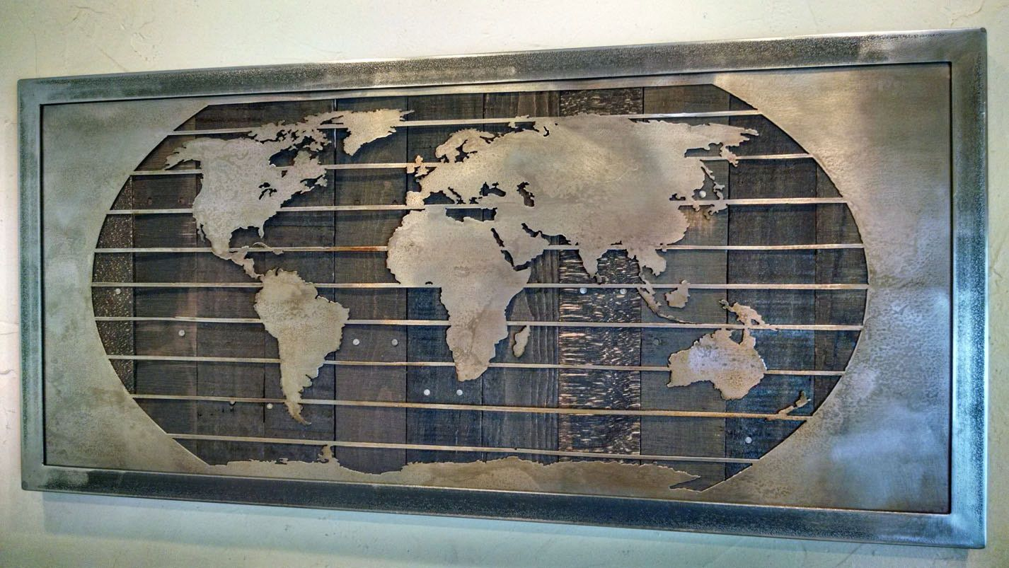 Metal world map wall art sculpture 3 sizes reclaimed wood metal world map wall art sculpture 3 sizes reclaimed wood steel gumiabroncs Choice Image