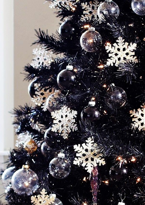 black christmas tree decorations 2014 black christmas tree crystal snowflake decorations