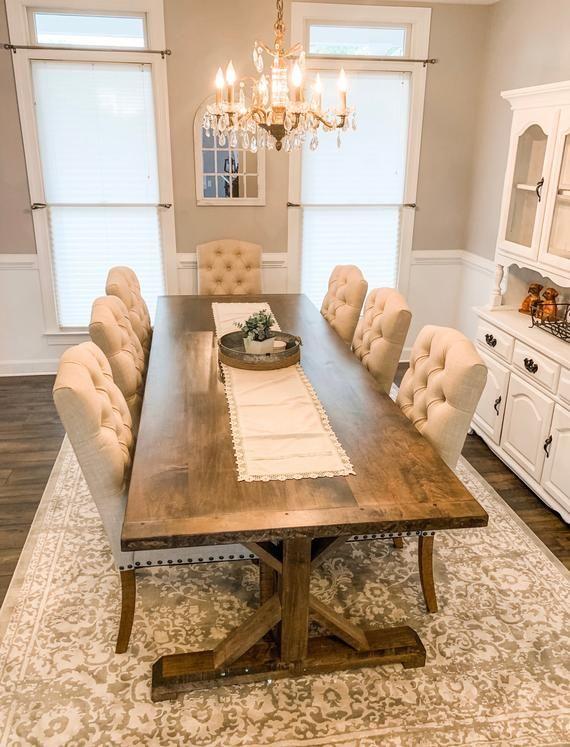 Maple Farmhouse Table, Custom Maple Hardwood Table, Farm Table with Breadboard Ends, Large Dining Room Table, Kitchen Table, Hardwood Table