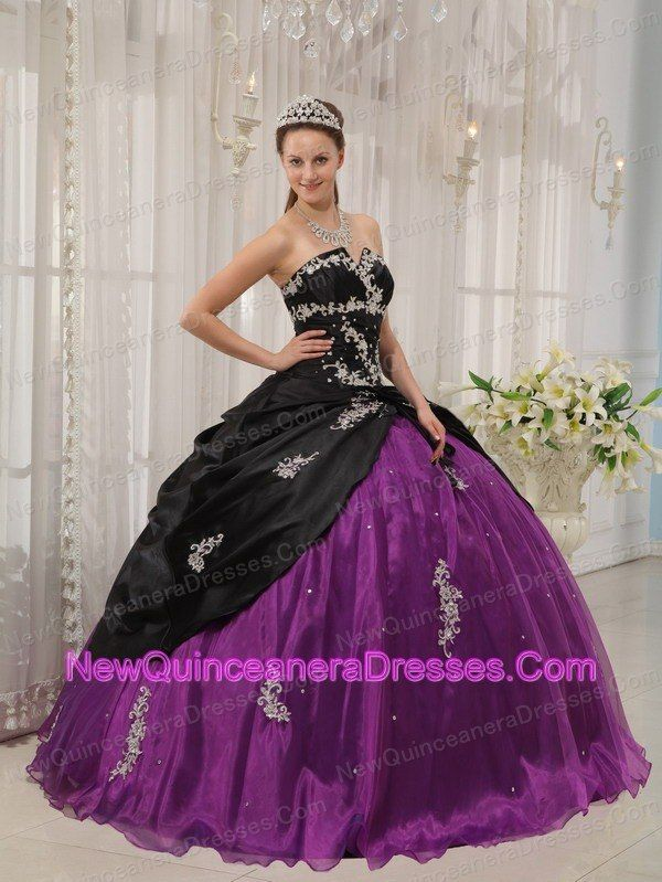 51052989ef7 Modest Black and Purple Quinceanera Dress Strapless Taffeta and Organza  Apppliques Ball Gown Maybe in a different set of colors