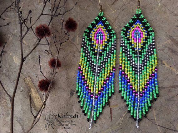 309e9def19bf9 Native american style Beadwork, native style earrings, beaded ...