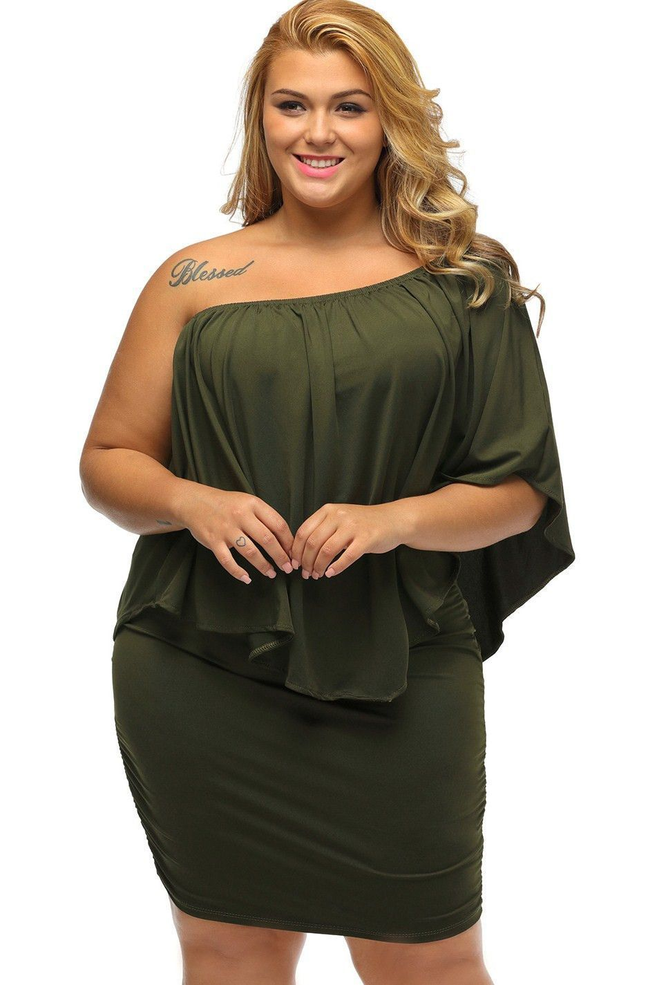 2595c84e13b61 Fashion Multiple Dressing Layered Army Green Plus Size Mini Dress in ...