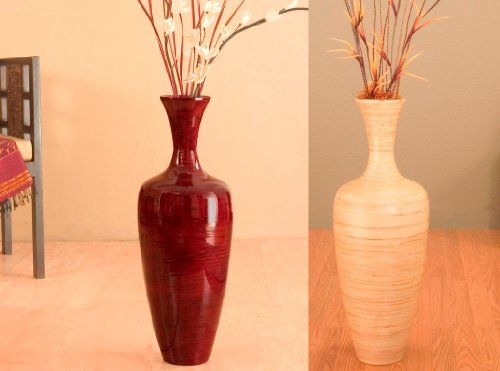 28 Inch Classic Natural Bamboo Floor Vase (Floral Not included