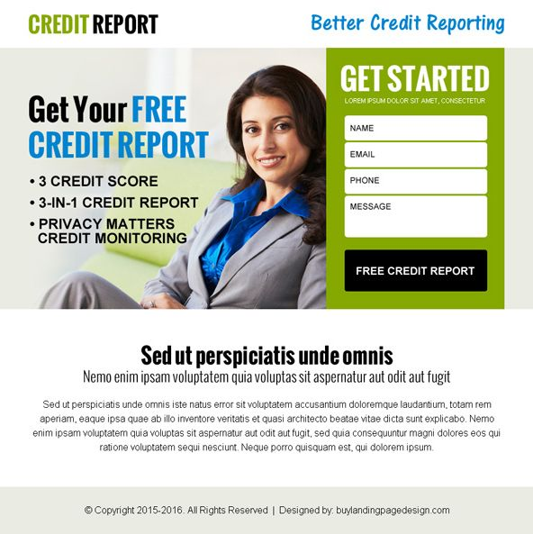 get your free credit report lead capture ppv landing page design ...