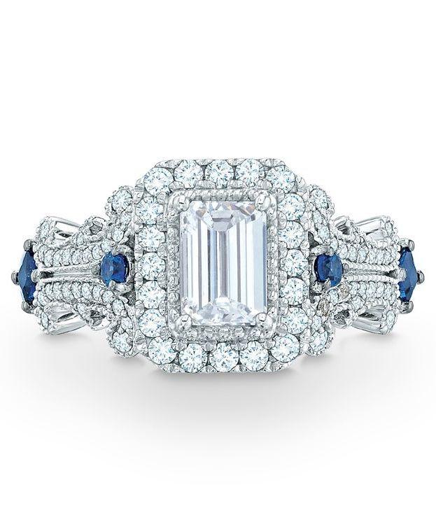 Vera Wang Love Collection 1 1 8 Ct T W Emerald Cut Diamond