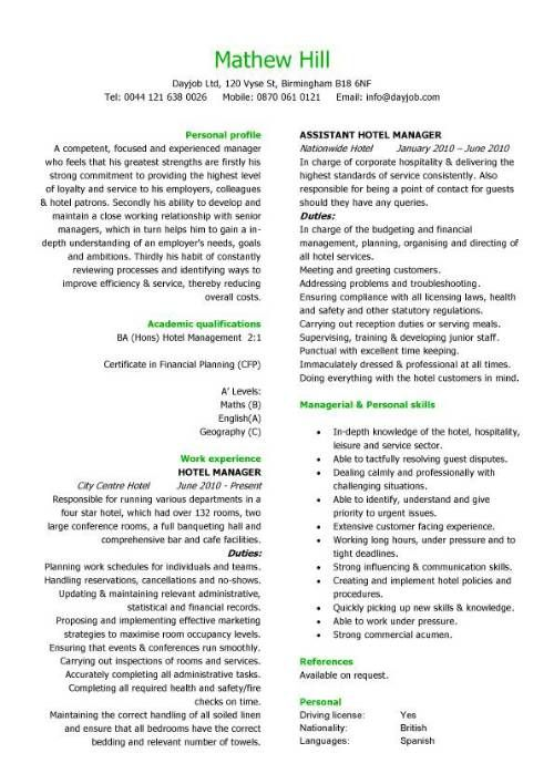 Hospitality CV templates, hotel receptionist, corporate hospitality - Sample Personal Skills In Resume