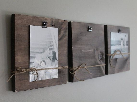 Rustic Wall Clip Frame 4x6 Or 5x7 Photo Display Photo By Creazi Wall Clips Photo Displays Wedding Photo Display