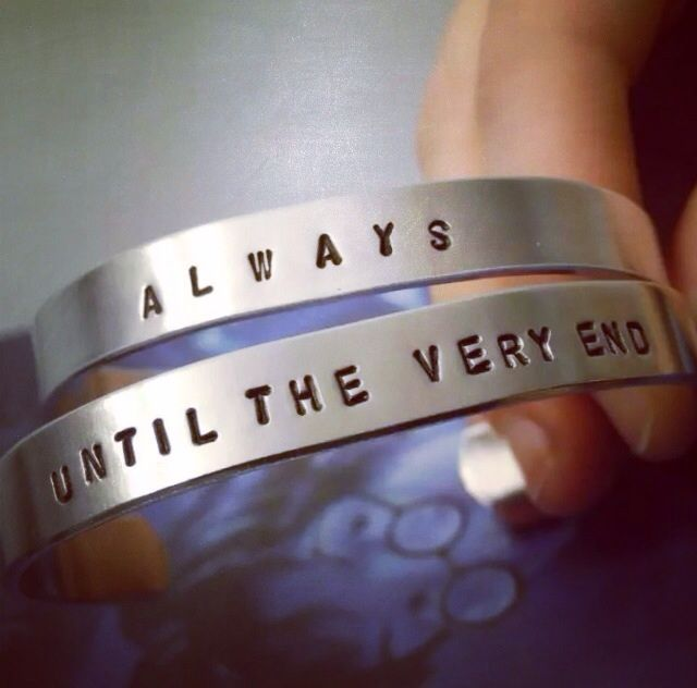 """Always Until The Very End Bracelet Set Perfect For Best Friends Harry Potter Inspired Hand Stamped Handmade SHIPS FROM USA  You will receive a set of two handmade bracelets with the quotes, """"always"""" and """"until the very end"""" from the Harry Potter books. 6"""" long and 3/8"""" wide, fits average sized ..."""