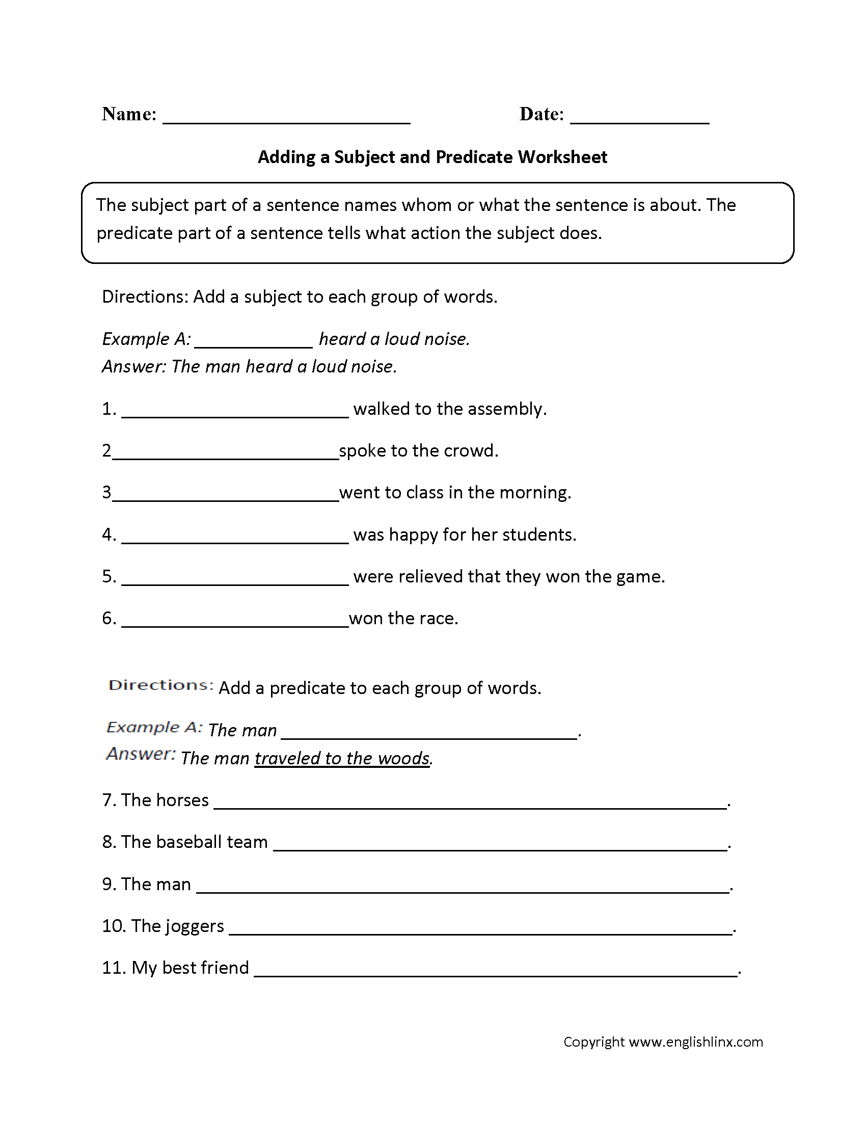 Worksheets Language Arts Worksheets For 6th Grade adding a subject and predicate worksheet englishlinx com board writing ideas