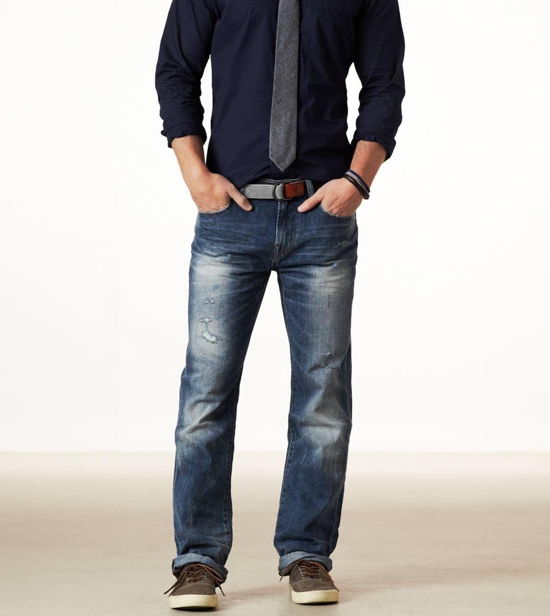 Medium Destroyed Straight Leg Jeans AE | Fashion for Tuti ...